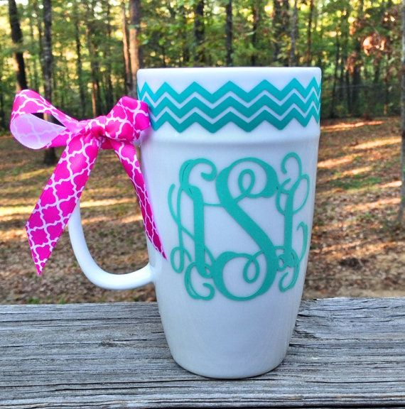 Monogrammed Chevron Coffee Mug Personalized by MSMudpieBoutique, $12.25