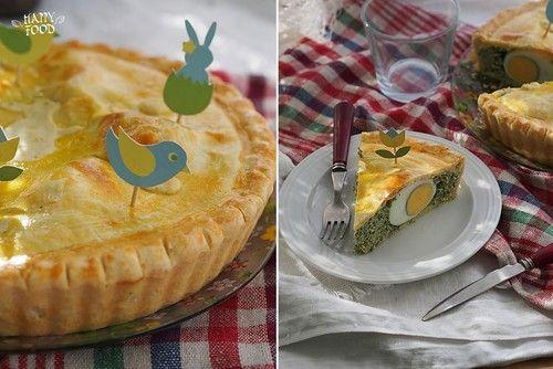 Завтраки, обеды, ужины - Пасхальный пирог со шпинатом, фетой и яйцами