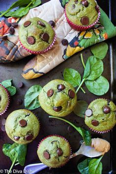 Green (Spinach) Peanut Butter Banana Muffins! KID approved! From The Diva Dish
