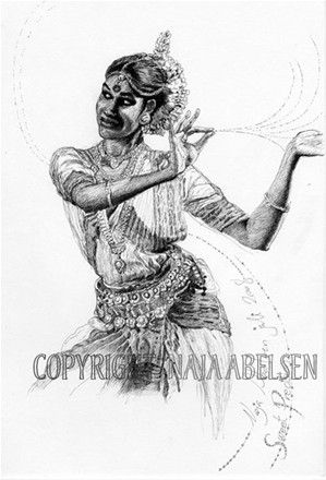 Indian Dancer. (Parvati) Ink drawing by Naja Abelsen. THE DANCE! - www.123hjemmeside.dk/NajaAbelsen (original sold) Available as A3-photoprint 400 DKK / 54 Euro.