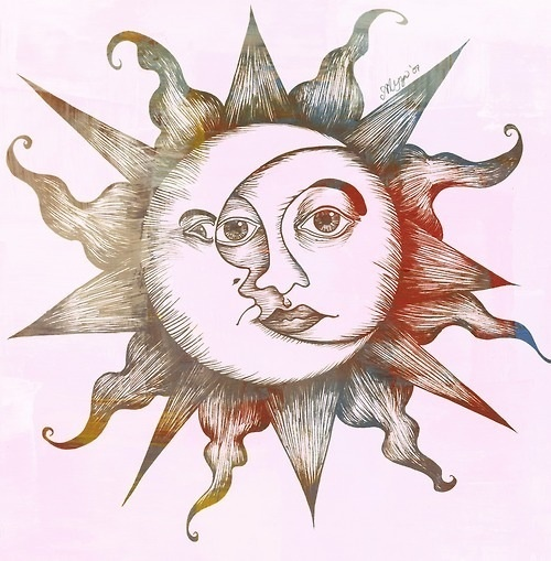 Beautiful sun and moon. Tattoo idea maybe.