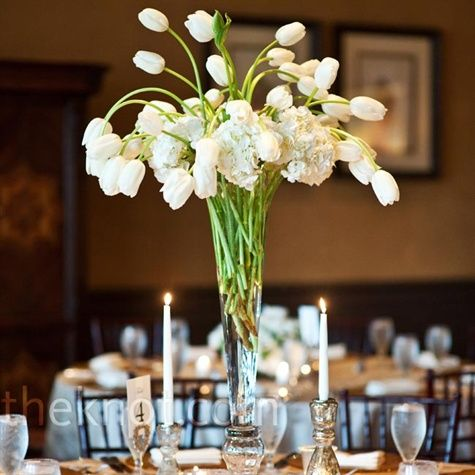 "from theknot: tall tulip centerpieces - ""tables were topped with two types of centerpieces, including tall glass vases with french tulips."" (photo by agnes lopez photography, centerpieces by liz stewart floral design) - could we do this in red? maybe a similar style for ceremony/altar flowers?"