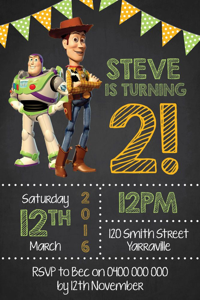 Personalised Toy Story Buzz and Woody Birthday Party Invitation Invites
