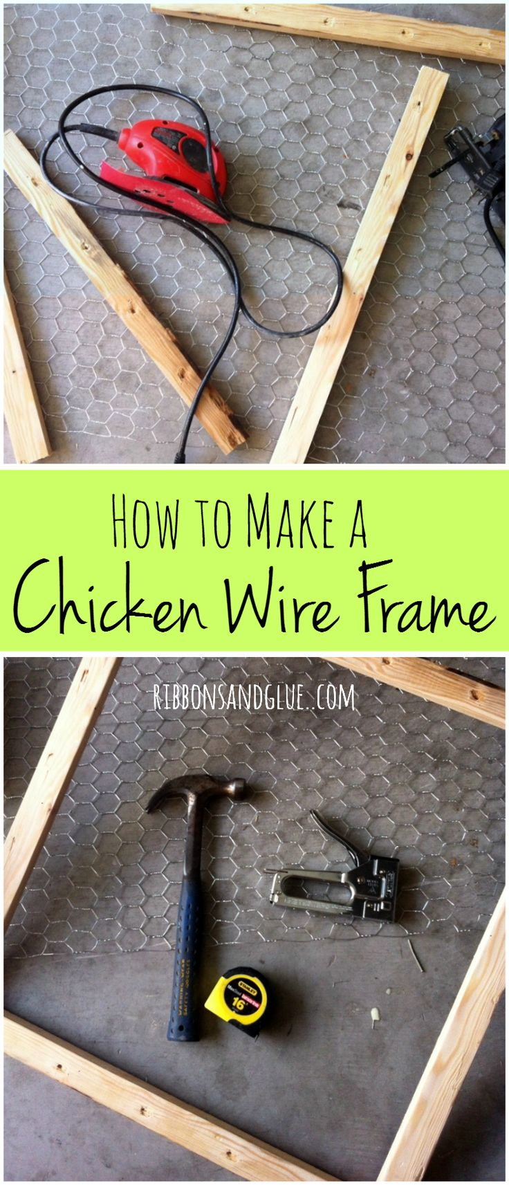 Show off cherished family photos with this: How to make a Chicken Wire Frame http://www.ribbonsandglue.com/diy-chicken-wire-photo-frame.html #DIY #craft #decor