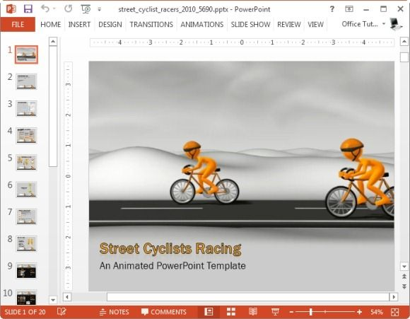 street cyclists racing powerpoint template