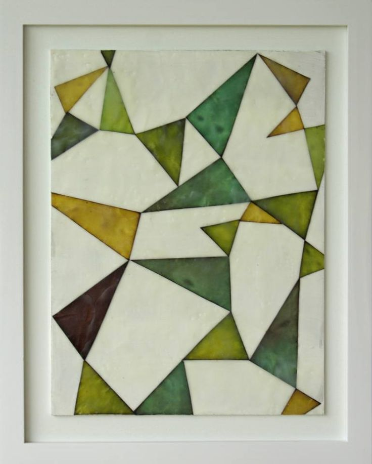 """Saatchi Art Artist gina cochran; Collage, """"Pennants in Green and Gold No. 3"""" #art"""
