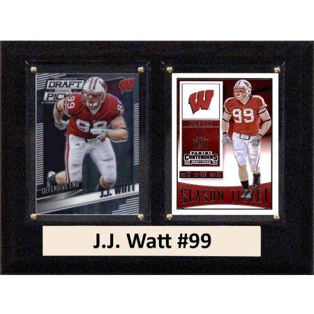 C & I Collectables Ncaa 6 inch x 8 inch JJ Watt Wisconsin Badgers 2 Card Plaque