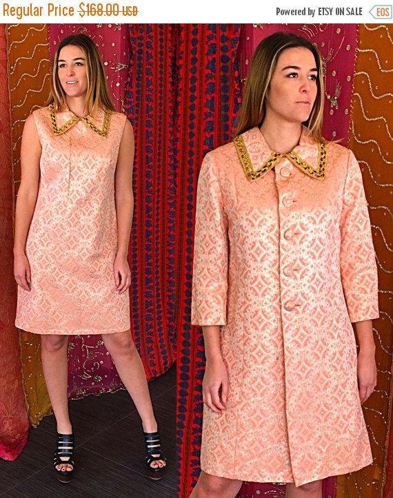 Habit de vente Mod Brocade robe partie métallique robe costume
