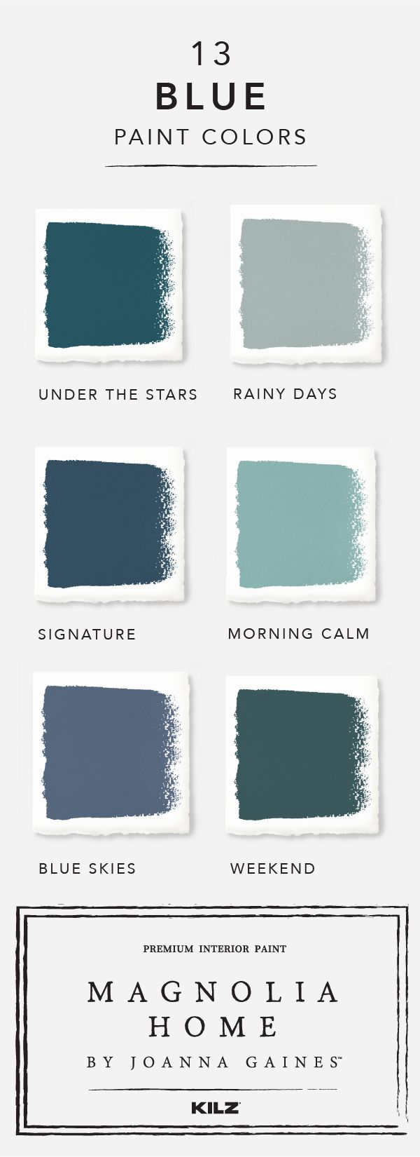 You'll have a hard time choosing favorites when it comes to these blue hues from Magnolia Home by Joanna Gaines™ paint collection. The gorgeous shades range from light neutrals like Rainy Days, to deep blues like Weekend. Click here to explore the full collection and find the perfect color for your home.