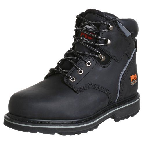 """Timberland PRO Men's Pitboss 6"""" Steel-Toe Boot    The steel toe construction meets ANSI safety standards and offers a roomier toe box than other boots. This means no foot pain even after long hours of hard work. You've also go an unsurpassed traction-grip for working on wet or slippery surfaces andelectronic hazard protection to keep you safe from open circuits.  $89.50"""