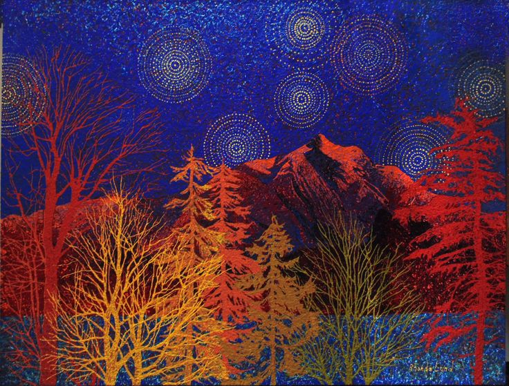 """Evening Starlight"" Painting by Artist Rhonda Lund 48 x 36""  Acrylic on Canvas; Staple back 2014 'a portrayal of the mysterious and fascinating light, color and form of a Rocky Mountain night scene."