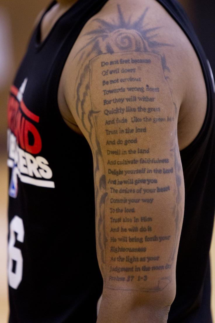 Damian Lillard's tattoo is sick! God's word man. Psalms 37 ...