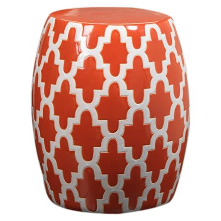 Ceramic Garden Stool With An Orange And White Quatrefoil Motif. Product:  Garden StoolConstruction Material