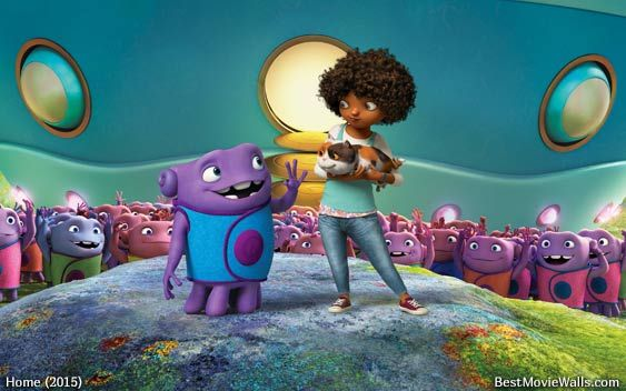 Dreamworks Home  Movie Wallpaper Hd With Oh Tip And Pig In Front Of The Boovs Spaceship Samsung Iphone And Android Wallpaper Hd In