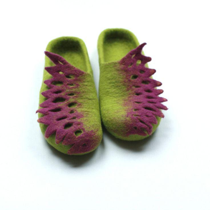 Women felted slippers - handmade wool clogs - green and purple felt slipper - made to order - Weddings gift (88.00 USD) by AgnesFelt