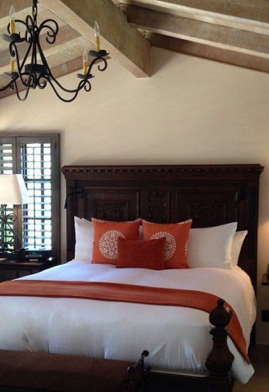 Our beautiful bedroom at Rancho Valencia, San Diego, California - The bedroom was lovely and the bed was a dream.