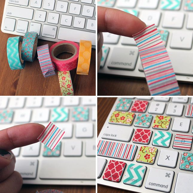 Decorate your keyboard with washi tape. Cut into square that fit over the buttons, and you'll have perfect little key covers for your keyboard.