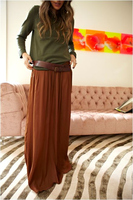 Great for fall. Earthy tones, and the full length skirt, wide belt, baggy sweated <3