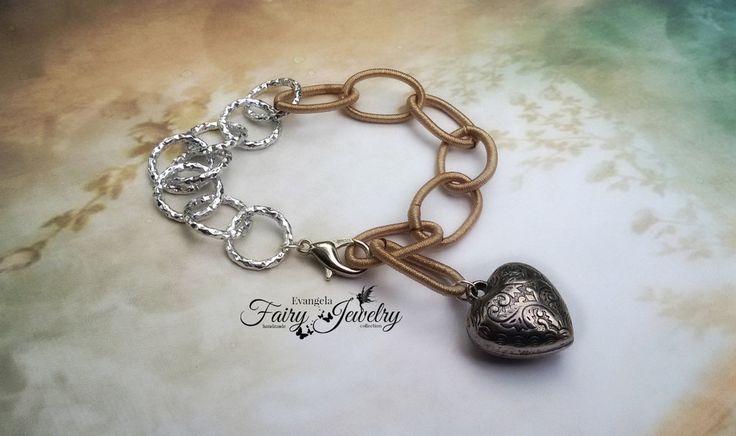 Bracciale alluminio e catena in seta maglie grandi nocciola argentato cuore regolabile , by Evangela Fairy Jewelry, 5,00 € su misshobby.com