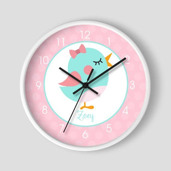 Sweet Little Birdie Blue Pink Personalized Nursery Clock Etsy Kids Wall Clock Personalized Nursery Girls Playroom