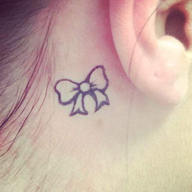 Cute Little Bow Tie Tattoo Behind the Ear
