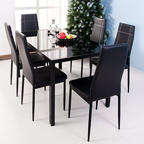 Merax Dining Set Glass Top Metal Table 6 Person And Chairs Inch Black Furniture Chair Sets