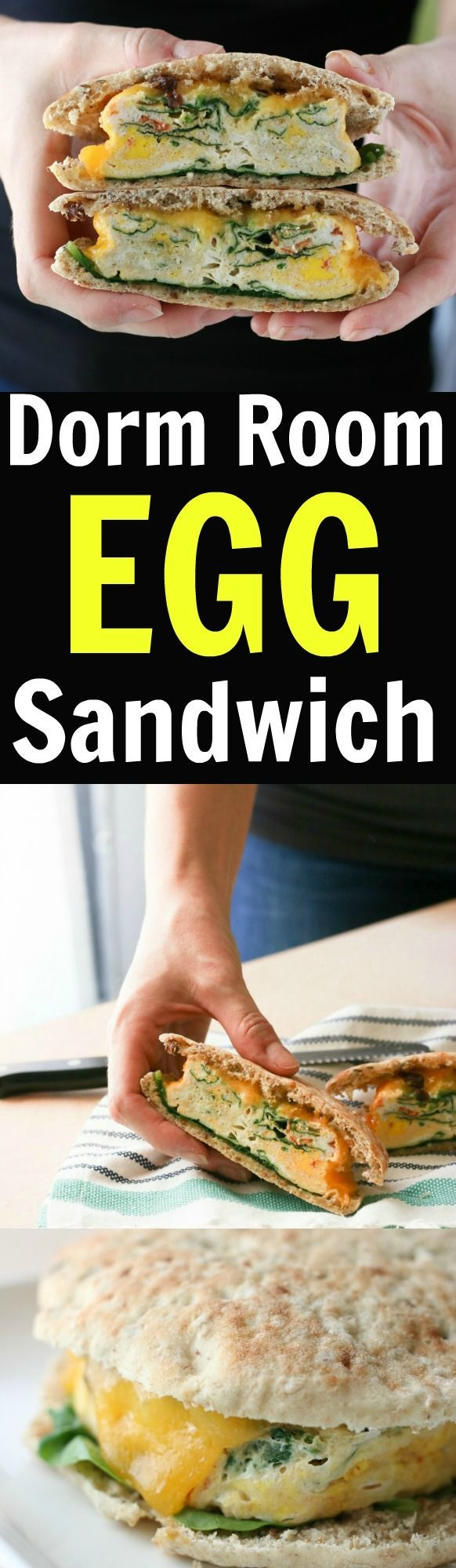 Easy microwave dorm room recipe for a healthy egg sandwich.