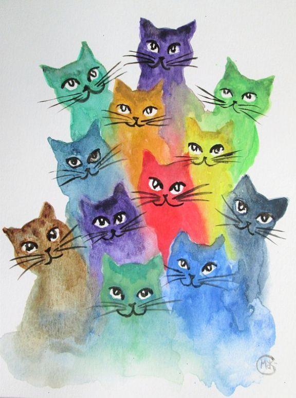 ursprüngliche Kätzchen- und Katzenkunst durch ma…