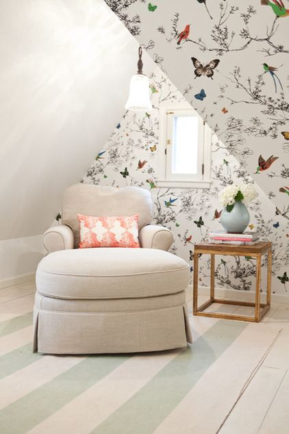 pretty butterfly wallpaper in a bedroom by Sarah Wittenbraker Interiors