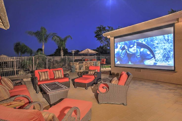 Outdoor Movie Theatre!!!  Mancave or kid's paradise.  Enjoy the movie while the kids swim or jump on the in ground trampoline.