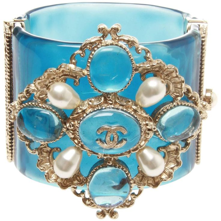 Chanel Cruise Versailles Blue Resin Cuff, 2013