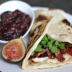 Bacon and Brie Piadina, with Balsamic Fig and Onion Marmalade.