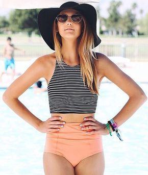 Striped Printed Top High Waisted Bikini