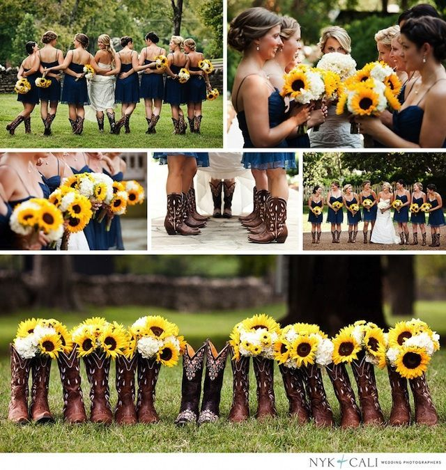 I really like the bottom picture with the bouquets in the boots. I think that would be a really cute idea :). (of course we wouldn't have sunflowers obviously)