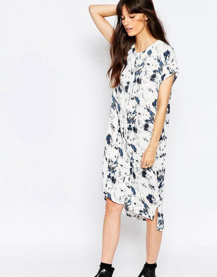 Изображение 1 из Белое платье с мраморным принтом Just Female