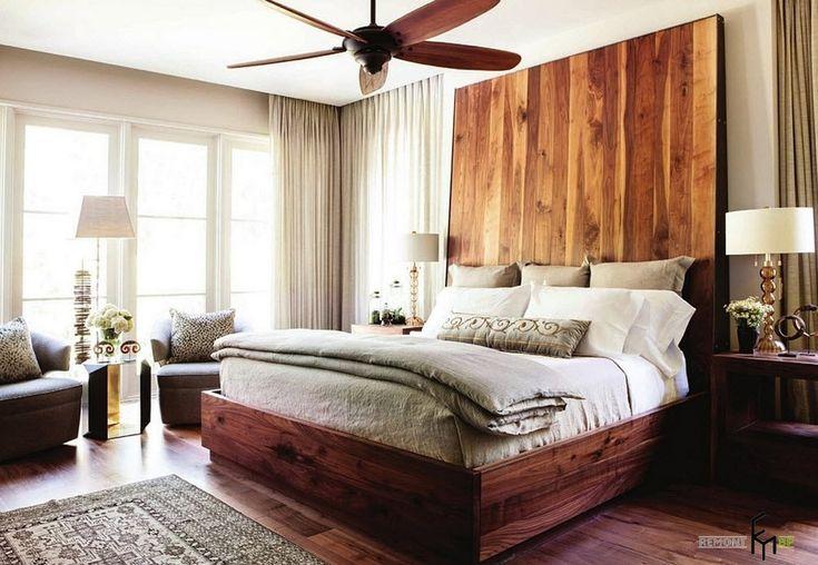 Высокое деревянное изголовье и вентилятор