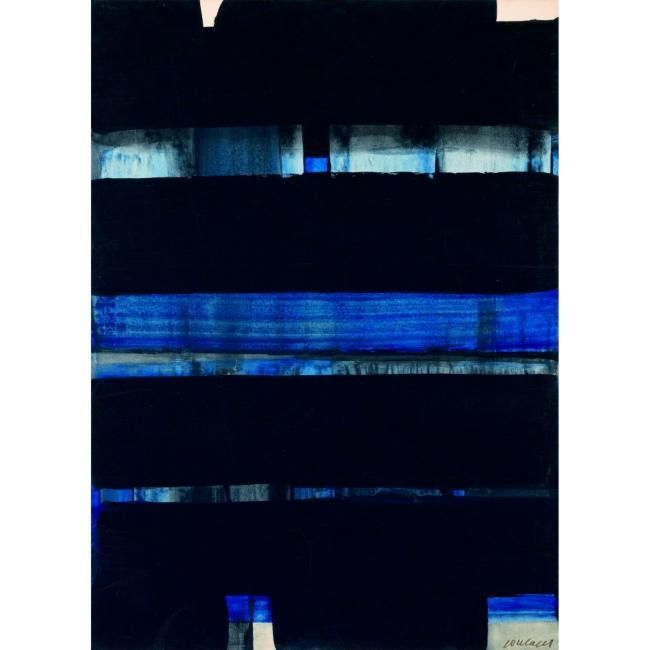 Pierre Soulages - Abstract Art - Informal Painting - Gouache sur papier marouflé…