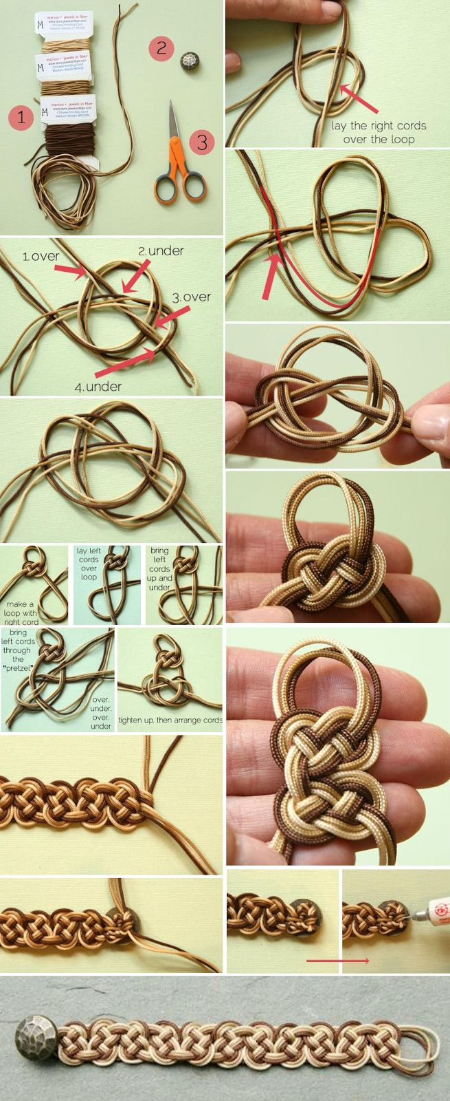Lovely ombre celtic knot bracelet tutorial. This ones for you @Katie Schmeltzer Jean Resch