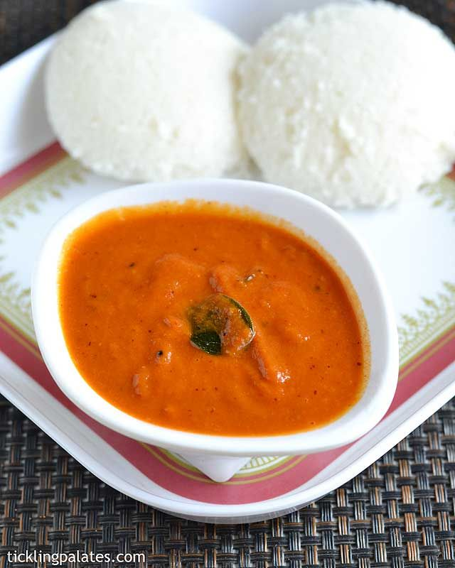 Red Capsicum Chutney or Red Bell Pepper Chutney Recipe with step by step photos. An easy side dish of chutney for idli and dosa.