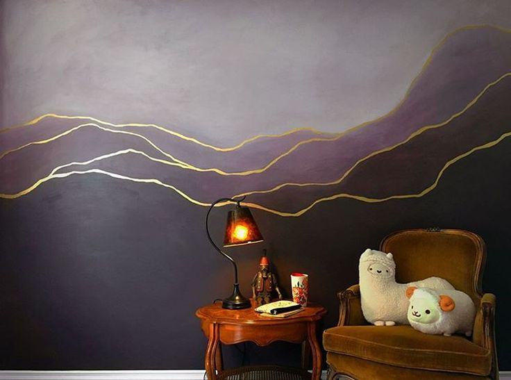 Purple wall paint. Ombre eggplant indoor mural with gold accents, created using Behr Art Nouveau Glass and Aubergine paints. @alexgold_art
