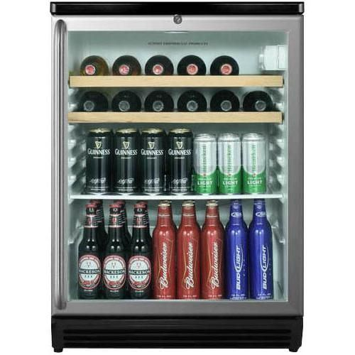 ft beverage with wood shelves stainless steel black cabinet - Beverage Coolers