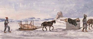 M.M. Chaplin, Habitants en chemin vers le marché de Noël, 1842.