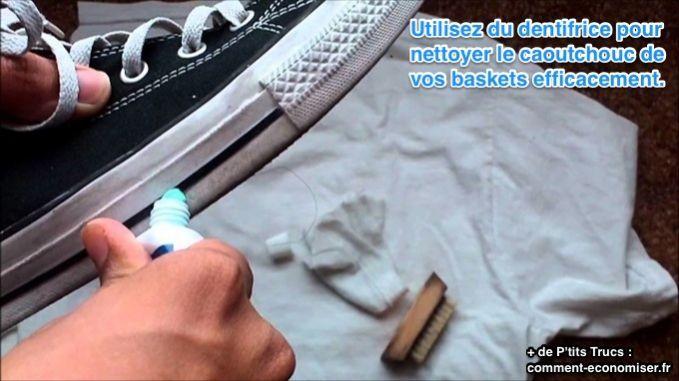 Vos baskets font grise mine ? Sur la partie en gomme de ses tennis, on se retrouve vite avec des traces noires. Pas facile de s'en débarrasser… Pour nettoyer la partie en caoutchouc de vos baskets, rien de tel que du dentifrice.  Découvrez l'astuce ici : http://www.comment-economiser.fr/nettoyer-baskets-tennis.html?utm_content=buffere9b5e&utm_medium=social&utm_source=pinterest.com&utm_campaign=buffer