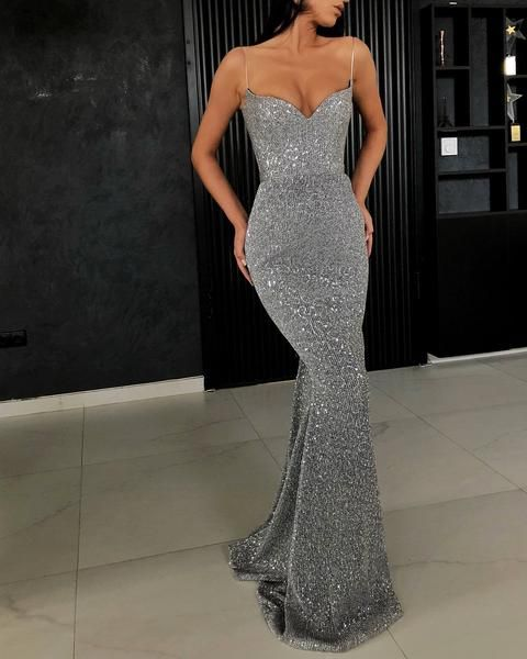 Sexy Sequins Spaghetti Strap Evening Dress