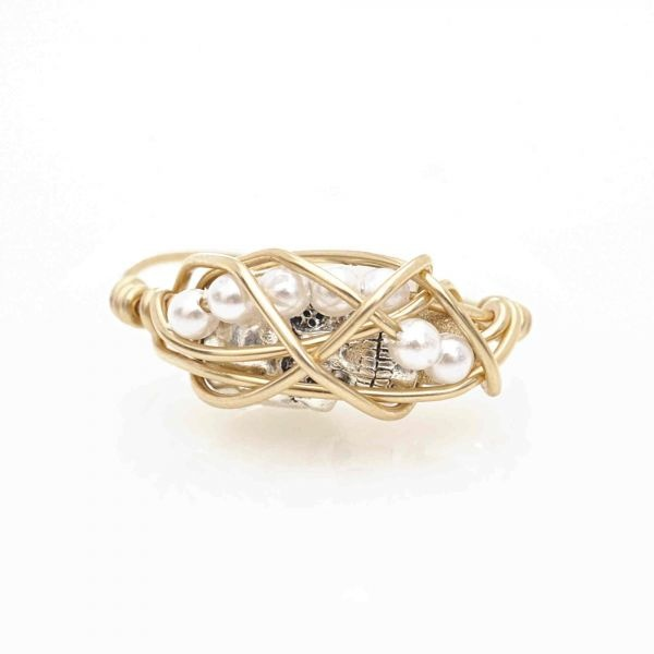 Thin Gold and Small Skull Graha Ring by Kathryn - an amazing piece of artwork!