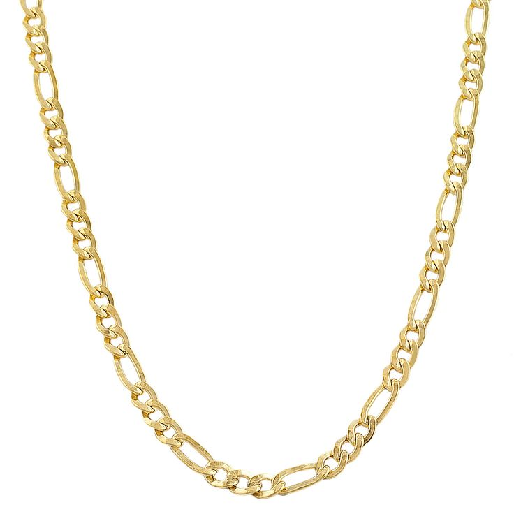 Add a classic accent to your ensembles with this pretty gold-filled figaro-link chain necklace from Fremada. A classic style for both men and women, this necklace features flattened links with an alte