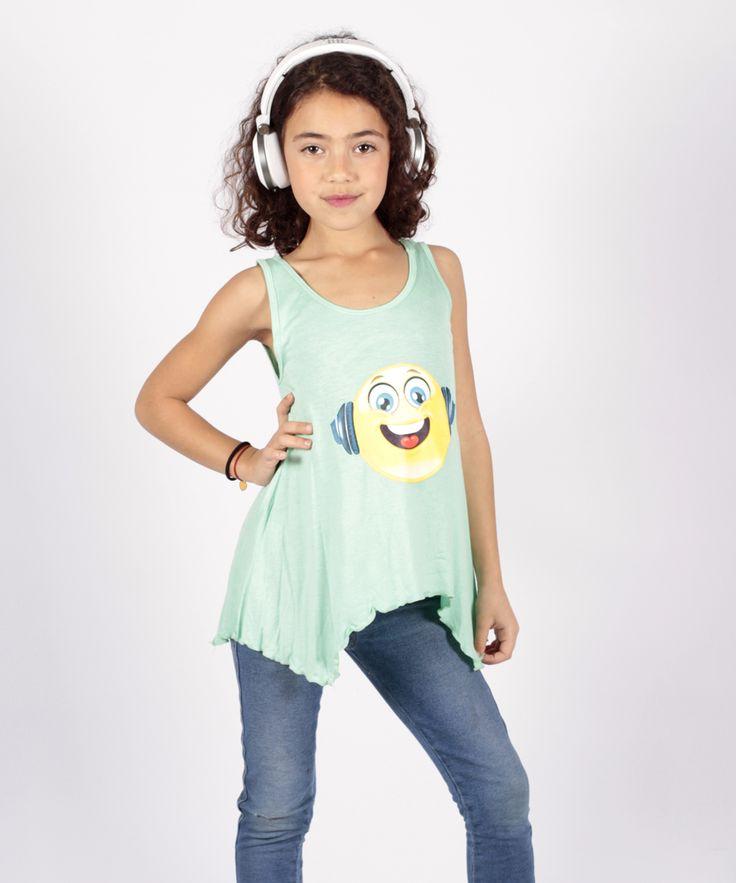Mint Music Emoji Sidetail Tank - Girls