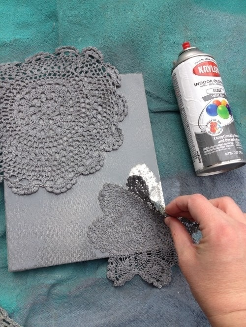 Lace and paint creates a cute pic to hang in any room!