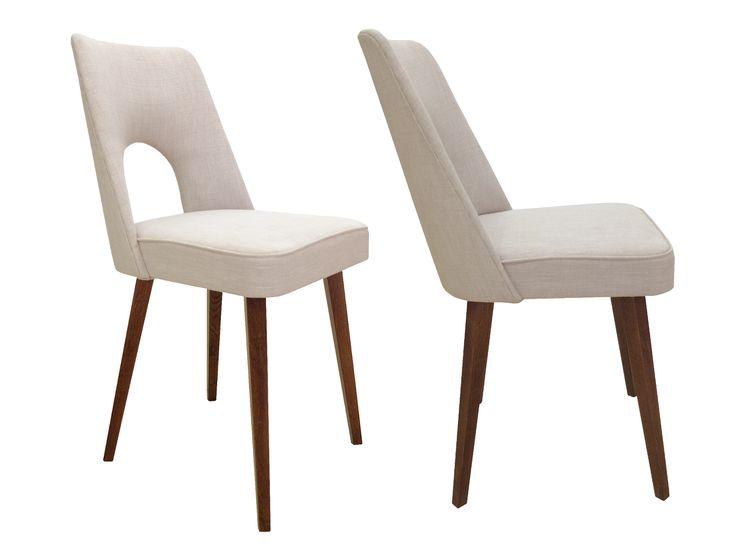 Krzesło / Stuhl Hieron   B.T. Meble  ➥ Eleganckie krzesło wzorowane na stylu lat 50-tych, PRL, wykonane na dębowym stelażu ➥ Eleganter Stuhl inspiriert von den 50ern auf einem Gestell aus Eichenholz. Aussergewöhnlich in der Form der Rückenlehne mit handgenähtem Bezug.