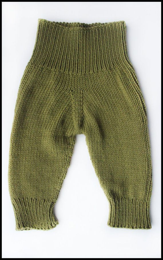 Knit baby pants Wool longies Baby leggings Merino by MaceriLT